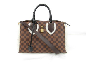 Auth LOUIS VUITTON 路易威登 Normandy 手提包 单肩包 bag N44048 Damier canvas 棕色 Ebene Used | BRANDOFF 柏欧福