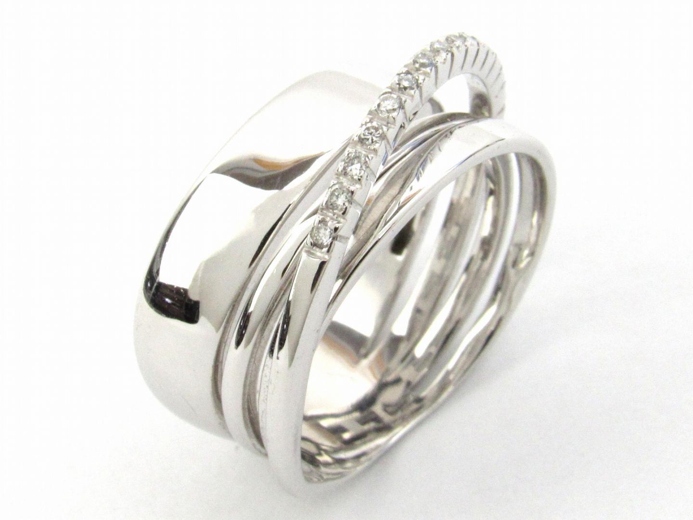 【中古】ポンテヴェキオ ダイヤモンド リング 指輪 レディース K18WG(750) ホワイトゴールド X ダイヤモンド0.09ct