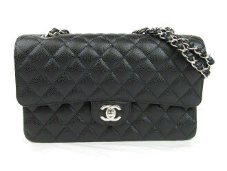 Auth CHANEL 香奈儿 Matelasse CC W Flap Chain 单肩包 bag A1112 Caviar skin leather 黑色 | BRANDOFF 柏欧福