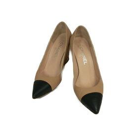 9ed517568d9e 【中古】 シャネル パンプス レディース レザー ベージュ / ブラック   CHANEL くつ 靴 パンプス 美