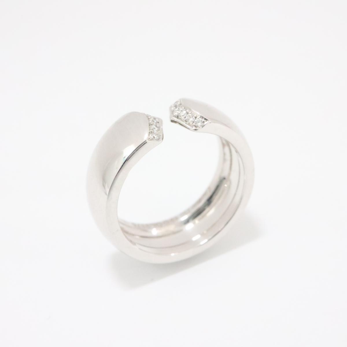 【中古】カルティエ C2 ダイヤリング 指輪 レディース K18WG (750) ホワイトゴールド x ダイヤモンド CT記載無し シルバー | Cartier リング K18 18K 18金 C2 ダイヤリング 美品 ブランドオフ BRANDOFF
