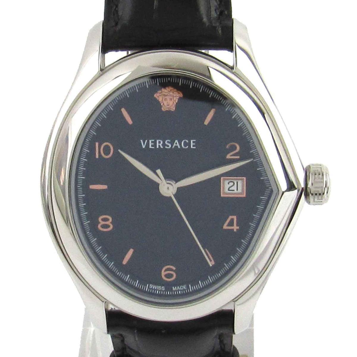 【中古】 ヴェルサーチ Vマスター ウォッチ 腕時計 メンズ ステンレススチール (SS) x レザー (20Q) | VERSACE クオーツ クォーツ 時計 Vマスター 美品 ブランドオフ