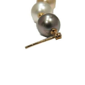 【中古】ジュエリーパールピアスレディースK18YG(750)イエローゴールド×ダイヤモンド(0.03ct)×パール8.5-10mm