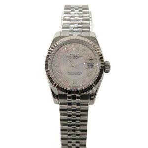 【中古】ロレックスデイトジャストウォッチ腕時計レディースK18WG(750)ホワイトゴールドxステンレススチール(SS)(179174NRDD番)