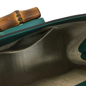 【中古】グッチフローラ2wayショルダーバッグレディースレザー×バンブー(竹)グリーン(370831)