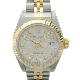【中古】ロレックス デイトジャスト 10Pダイヤモンド ウォッチ 腕時計 レディース ステンレススチール(SS) x 18Kイエローゴールド (79173G Y番)