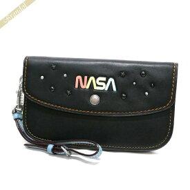 コーチ COACH レディース クラッチバッグ NASA レザー リストレット ブラック F10833 LHBLK   コーチアウトレット コンビニ受取 ブランド