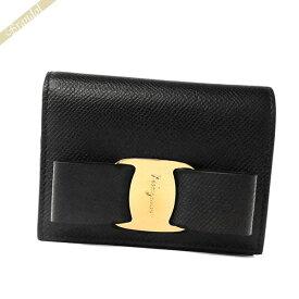 フェラガモ Ferragamo 財布 レディース 二つ折り財布 ヴァラリボン レザー ブラック 22 D515 0725300   コンビニ受取 ブランド