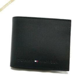 トミーヒルフィガー TOMMY HILFIGER 財布 メンズ 二つ折り財布 レザー ブラック 31TL25X005 001 | コンビニ受取 ブランド