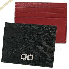 フェラガモ Ferragamo メンズ カードケース ガンチーニ レザー カード入れ ブラック×レッド 66 A302 0698914 | コンビニ受取 ブランド