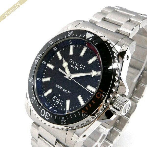 グッチ GUCCI メンズ腕時計 DIVE ダイブ 45mm ブラック×シルバー YA136212 【ブランド】