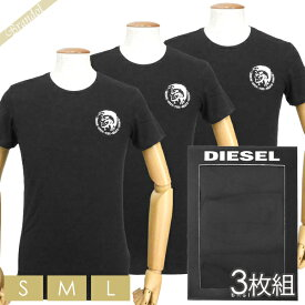 ディーゼル DIESEL メンズ Tシャツ 3枚組 半袖 クルーネック ブレイブマン ロゴ 無地 パックTシャツ ブラック [Sサイズ/Mサイズ/Lサイズ] 00SJ5L 0TANL 01 | ブランド