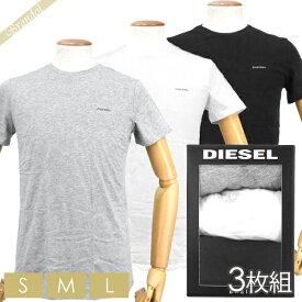 ディーゼル DIESEL メンズ Tシャツ 3枚組 半袖 クルーネック 胸ロゴ 無地 パックTシャツ ブラック・ホワイト・グレー [Sサイズ/Mサイズ/Lサイズ] 00SPDG 0AALW 01 | ブランド