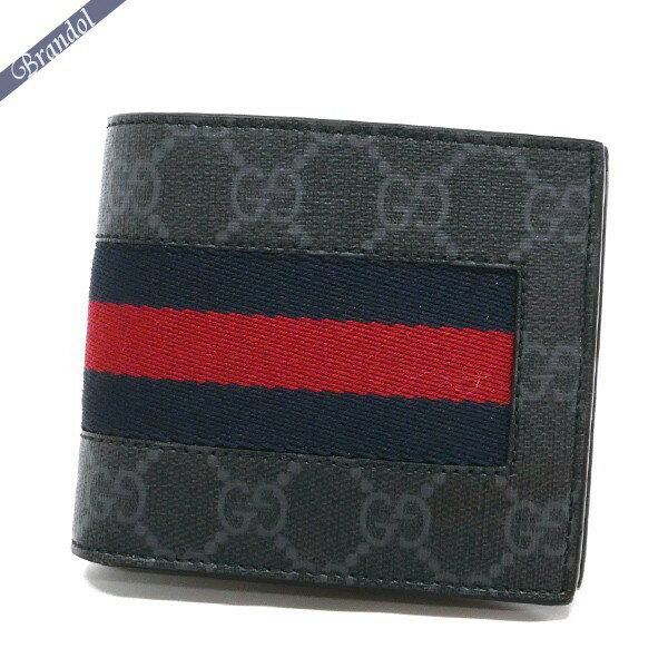 グッチ GUCCI 財布 メンズ 二つ折り財布 ウェブライン GGスプリーム ネイビー系 408826 KHN4N 1095【ブランド】