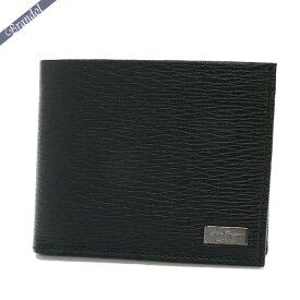 《1200円OFF!2/21(金)0:59まで》フェラガモ メンズ 二つ折財布 レザー ブラック 66 7070 0351306