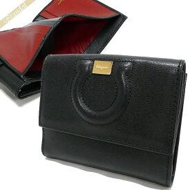 フェラガモ Ferragamo レディース 二つ折財布 レザー ガンチーニ ブラック 22 C844 0684441 | ブランド
