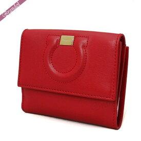 フェラガモ Ferragamo レディース 二つ折財布 レザー ガンチーニ レッド 22 C844 0684444 | ブランド