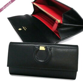 フェラガモ Ferragamo レディース 長財布 レザー ガンチーニ ブラック×レッド 22 C827 0684419 | ブランド