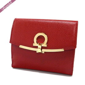 フェラガモ Ferragamo レディース 二つ折財布 ガンチーニ レザー レッド 22 C877 0673999 | ブランド