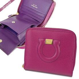 フェラガモ Ferragamo レディース 二つ折財布 レザー ガンチーニ ラウンドファスナー ミニ財布 ピンク×パープル 22 D201 0714811 | ブランド