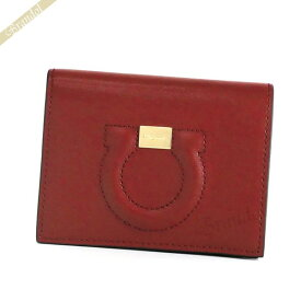 フェラガモ Ferragamo レディース 二つ折財布 ガンチーニ レザー レッド×ボルドー系 22 D514 0725377 | ブランド