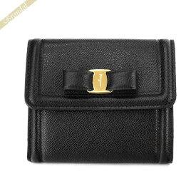 《最大1200円クーポン》フェラガモ Ferragamo レディース 二つ折財布 ヴァラリボン レザー ブラック 22 C911 0673755 | ブランド