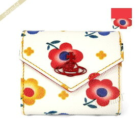 ヴィヴィアンウエストウッド Vivienne Westwood 三つ折り財布 レディース フラワープリント 花柄 ホワイト系×レッド系 51150008 DERBY O212 【2020年春夏新作】 | ブランド