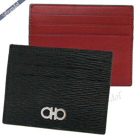 フェラガモ Ferragamo メンズ カードケース ガンチーニ レザー カード入れ ブラック×レッド 66 A302 0698914 | ブランド