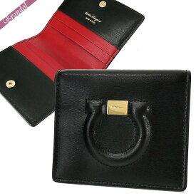 フェラガモ Ferragamo レディース カードケース レザー ガンチーニ ブラック×レッド 22 C847 0684463 | ブランド
