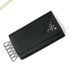 プラダ PRADA メンズ キーケース レザー 6連 ブラック 2PG222 QME F0002 | ブランド