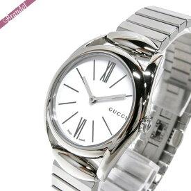 《クーポン利用で2000円OFF!9/24 01:59まで》グッチ レディース腕時計 ホースビット Horsebit 30mm ホワイト×シルバー YA140505