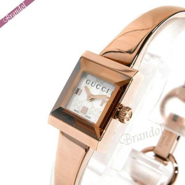 グッチ レディース レディース腕時計 Gフレーム スクエア バングルウォッチ ホワイトシェル×ローズゴールド YA128517