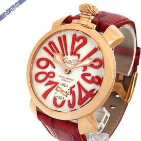 《クーポン利用で1000円OFF!11/26 1:59まで》ガガミラノ メンズ 腕時計 マヌアーレ PVD MANUALE 48mm 手巻き ゴールド×レッド 5011.10S