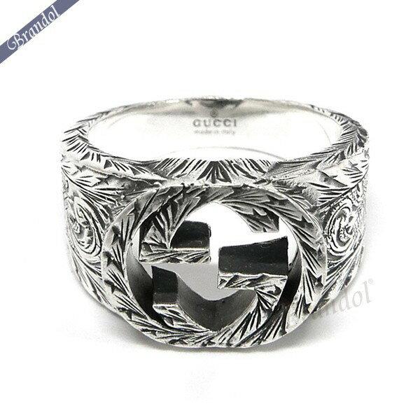 《750円クーポン対象商品_2/25 24時まで》グッチ リング メンズ 指輪 インターロッキングG 彫銀風 シルバーリング シルバー 455302 J8400 0811