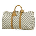 ルイ・ヴィトン Louis Vuitton キーポル 50 旅行 出張 ビジネス ジム ボストンバッグ ダミエアズール ホワイト N41430…