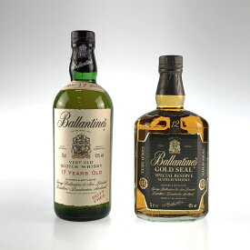 2本 バランタイン Ballantines 12年 ゴールドシール 17年 スコッチ 750ml ウイスキー セット 【中古】