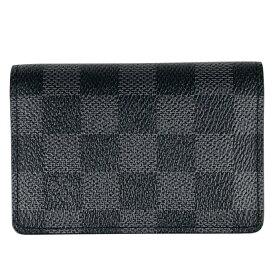 ルイ・ヴィトン Louis Vuitton オーガナイザー ドゥ ポッシュ 定期入れ 名刺ケース カードケース ダミエグラフィット ブラック N63075 メンズ 【中古】