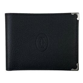 カルティエ CARTIER マストライン 二つ折り財布 札入れ カード入れ 二つ折り財布 レザー ブラック メンズ 【中古】