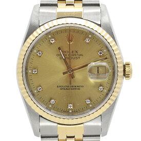 ロレックス ROLEX デイトジャスト 10Pダイヤ 16233G 腕時計 SS YG 自動巻き ゴールド メンズ 【中古】