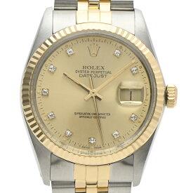ロレックス ROLEX デイトジャスト 16013G 腕時計 SS YG ダイヤモンド 自動巻き シャンパンゴールド メンズ 【中古】