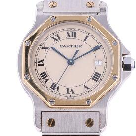 カルティエ CARTIER サントスオクタゴンMM 187902 腕時計 SS クォーツ ベージュ メンズ 【中古】