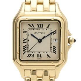 カルティエ CARTIER パンテールLM デイト W25014B9 腕時計 YG クォーツ アイボリー メンズ 【中古】