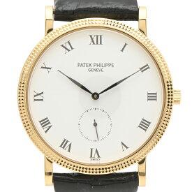 パテックフィリップ PATEK PHILIPPE カラトラバ 3919J-001 腕時計 YG レザー 手巻き ホワイト メンズ 【中古】