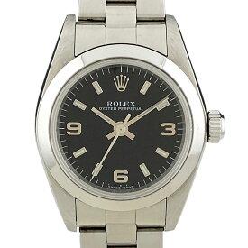 ロレックス ROLEX オイスターパーペチュアル 76080 腕時計 SS 自動巻き ブラック レディース 【中古】