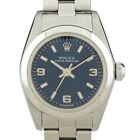 ロレックス ROLEX オイスターパーペチュアル 76080 腕時計 SS 自動巻き ネイビー レディース 【中古】