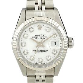 ロレックス ROLEX デイトジャスト クロノメーター 69174G 腕時計 SS WG 自動巻き ホワイト レディース 【中古】