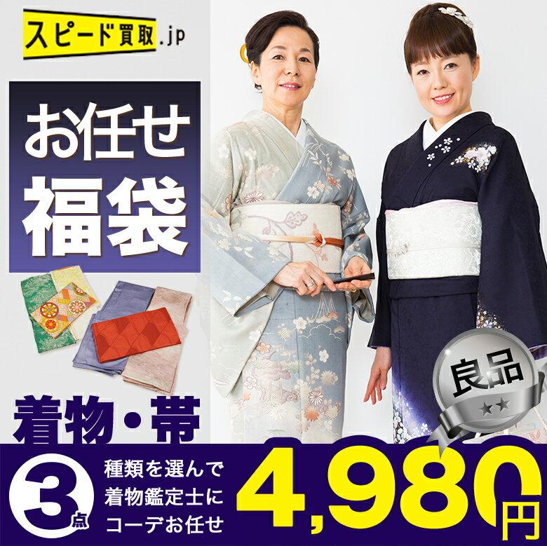 着物 袋帯 名古屋帯 福袋 セット 付下げ 色無地 小紋 紬 浴衣 大島紬 set 良品 スピ買