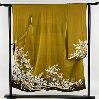 Long-sleeved kimono beauty product perfect gem mountain and court-cow-carriage crest fan gilt thread Kinsai Japanese mountain rose brown lined kimono dress length 147cm sleeve and shoulder width plus the length from shoulder to hem 62cm S pure silk fabri