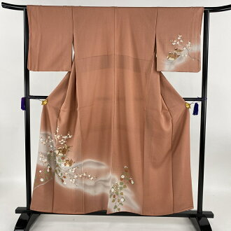 Distribute 訪問着秀品梅鴛鴦金彩染 め; reddish brown lined kimono dress length 156.5cm sleeve and shoulder width plus the length from shoulder to hem 63.5cm S pure silk fabrics