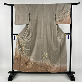 30%OFF 訪問着美品秀品 ornamental scented ball flower Suzhou embroidery thin adzuki bean lined kimono dress length 156.5cm sleeve and shoulder width plus the length from shoulder to hem 62.5cm S pure silk fabrics msp30perk